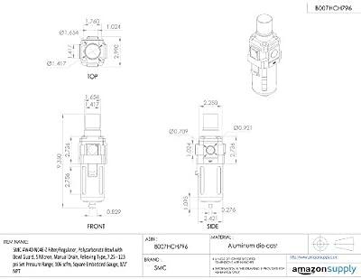 "SMC AW40-N04E-Z Filter/Regulator, Polycarbonate Bowl with Bowl Guard, 5 Micron, Manual Drain, Relieving Type, 7.25 - 123 psi Set Pressure Range, 106 scfm, Square Embedded Gauge, 1/2"" NPT"