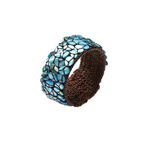 PtPt, Blue Turquoise Color Beads Stone on Adjustable Bangle Wax Cord Wrap, Bracelet Fashion Jewelry Women (White Nail Polish Essie compare prices)