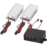 CARCHET® SET 2X LAMPE STROBE STROBOSCOPE A 22 LED BLANC 3 MODES