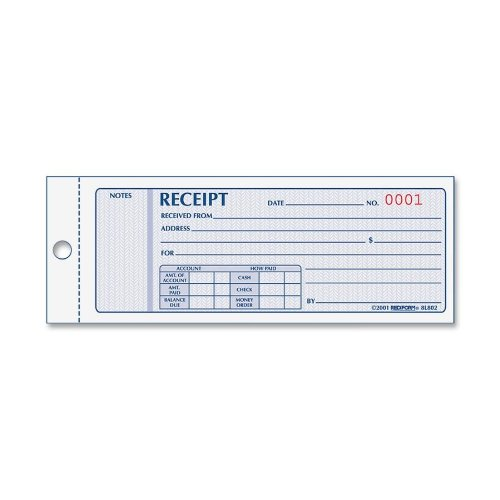 Money Receipt Book, 2 3/4 x 7, Carbonless Triplicate, 50 Sets/Book, Sold as One Each