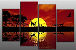 "Large Africa Sunset Canvas Art Picture Red Toned 4 pieces multi panel split canvas completely ready to hang hanging cord attached, hanging template included for easy hanging, hand made printed to order UK company 40"" width 28"" height"