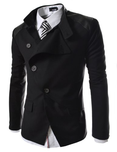 TheLees Mens casual china collar rider style slim blazer jacket Black Large(US Medium)