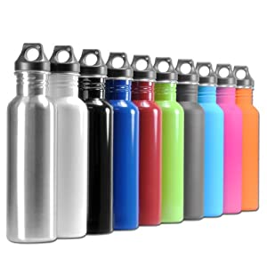 Eco-Friendly Wide Mouth 25oz, 750mL Stainless Steel Sports Water Bottle - BPA Free by eToolscity