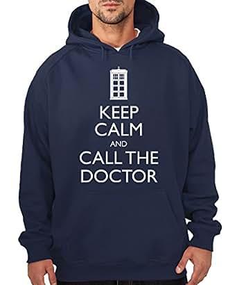 -- Keep Calm and Call the Doctor -- Boys Hoody Navy, Gr. S