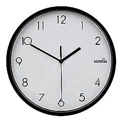 Hippih 10 Silent Quartz Decorative Wall Clock with Glass Cover Non-ticking Digital,2315-F