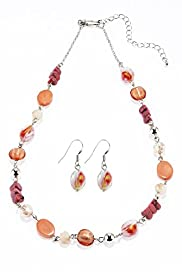 Assorted Bead Link Chain Necklace & Earrings Set