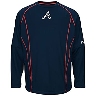 Atlanta Braves Majestic MLB Authentic On-Field Crew Pullover Sweatshirt