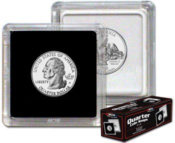 2x2 Coin Snap Holder Quarter (24.3mm) Bundle of 25 by BCW - 1