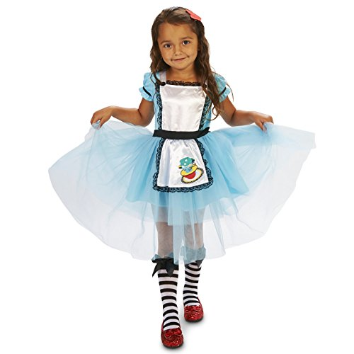 [Classic Alice Toddler with Knee Highs & Hair Clip Costume 2-4T] (Toddler Tweedle Dee Costume)