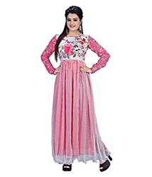 My online Shoppy Women's Net Semi Stitched Dress Material (My online Shoppy_123_Pink_Free Size)