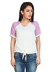Zovi Georgette White And Purple Varsity Top (10308409401_X-Small)