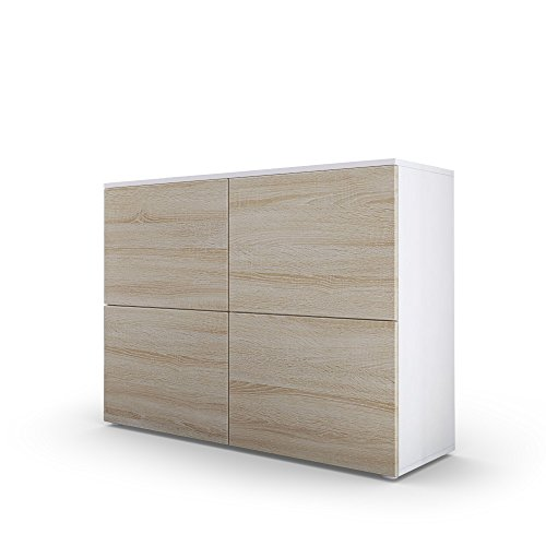 Kommode-Sideboard-Rova-in-Wei-matt-Eiche-sgerau-Eiche-sgerau