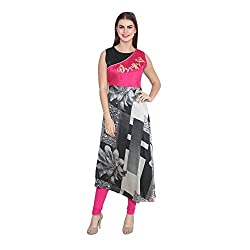 Cj15 Pink And Black Kurti For Women