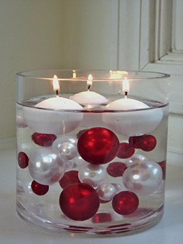 95 PC Jumbo Red Pearls and White Pearls with Sparkling & Red Diamonds and Gems Accents. Not Including the Transparent Water Gels for floating the Pearls and Gems. (Holiday Table Centerpieces compare prices)