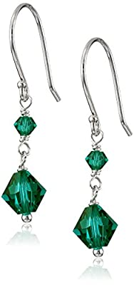 Sterling Silver Crystallized Swarovski Elements Bicone 3mm and 6mm in May Birthstone Emerald Color Drop Earrings