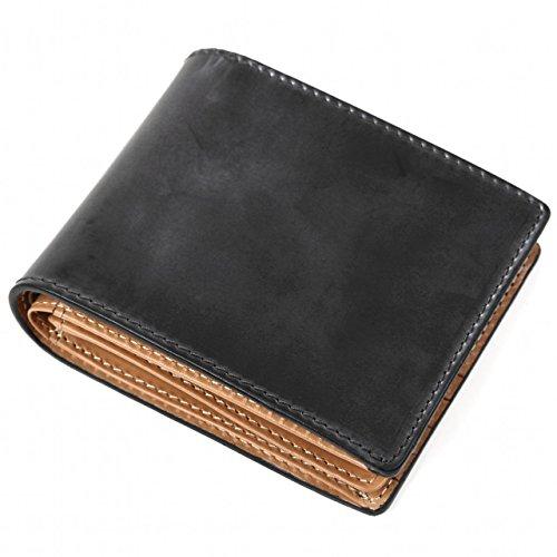 (ラファエロ) Raffaello 一流の革職人が作る ブライドルレザーで製作したメンズ二つ折財布 革財布 本革 メンズ財布(ロイアルブラック)
