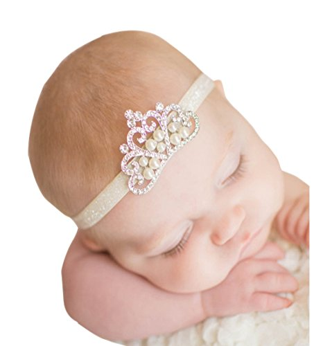 Voberry® Baby's hair band Baby Girl Crystal Pearl Crystal Crown Princess Headband (C)