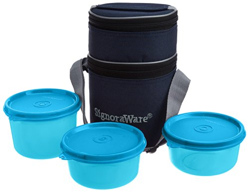 Signoraware Officer's Lunch Box With Bag, 14.5cm, T Blue