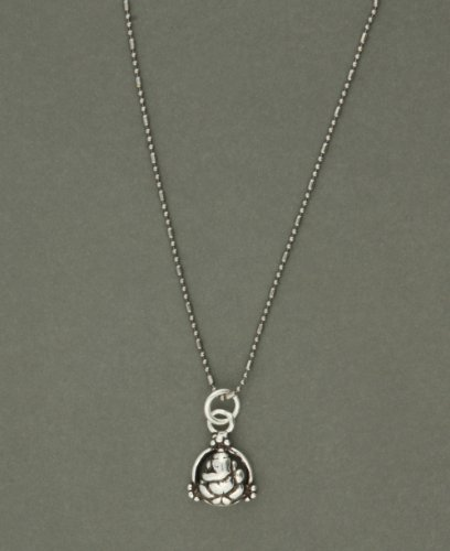 Sterling Silver Abstract Ganesh Circle Pendant Necklace