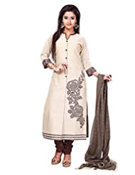 Beige & Coffee Kora Silk Stripe Readymade Salwar Kameez Dress - Machine Patch Work In Top