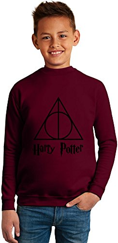 Harry Potter Deathly Hallows Superb Quality Boys Sweater by TRUE FANS APPAREL - 50% Cotton & 50% Polyester- Set-In Sleeves- Open End Yarn- Unisex for Boys and Girls 6-7 years
