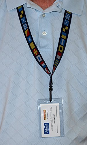 Code Flag Embroidered Ribbon, Nautical Themed Lanyard for ID Badge or Keys with Plastic Holding Clip