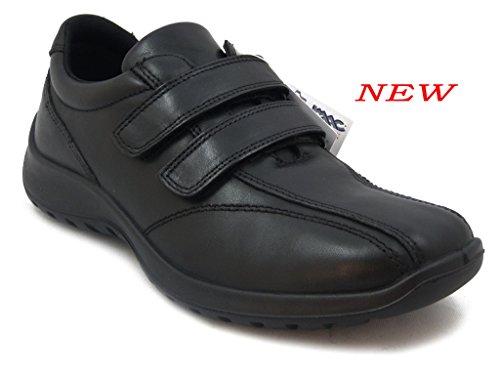 Imac, Scarpa uomo, sneaker in pelle colore nero, con lacci a strap, sottopiede estraibile, suola gomma antiscivolo, leggera e flessibile-60950 i16