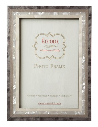 Eccolo Made in Italy Marquetry Wood Frame, Studio Grey Wood, Holds an 8 x 10-Inch Photo