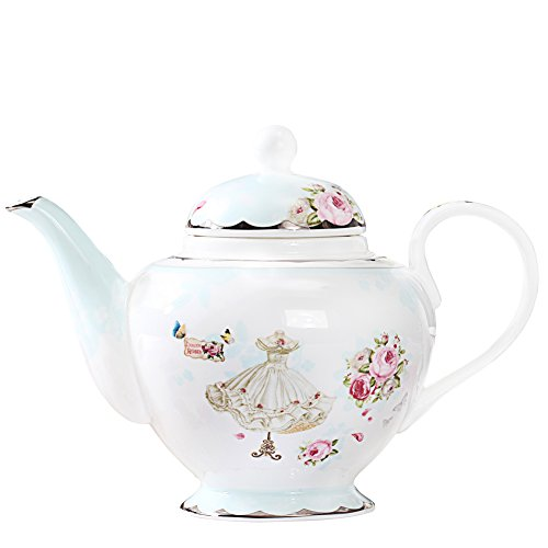 AWHOME Dress Flower Butterfly Bone china Teapot Gold Trim Home Decor And Collectors Gift(pot 04)