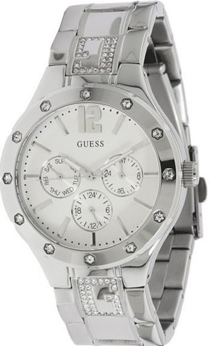 Guess U13612L1 Stainless Steel Crystal Silver Tone Multi Function Women Watch New