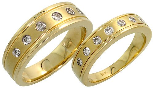 14k Gold His & Hers Wedding Band Set, w/ 0.56 Carat Brilliant Cut Diamonds