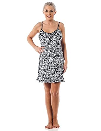 Womens cotton Baby Doll Chemise night shirt/sleep shirt-Zebra-M