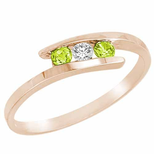 Ryan Jonathan Three Stone Diamond and Peridot Ring in 14K White Gold