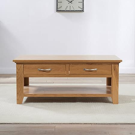 Cambridge Oak Coffee Table (Option With 2 Drawers)