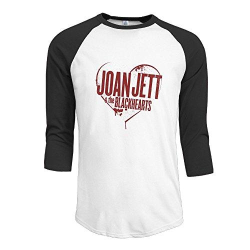 [Joan Jett & The Blackhearts Rock Band Top 3/4 Sleeve Raglan Tops Shirt Graphic] (Joan Jett Wigs)