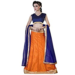 Admyrin Women Orange Bhagalpuri Lehenga Choli