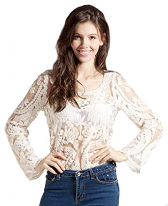 LookbookStore Women Semi Sexy Sheer Sleeve Embroidery Floral Lace Crochet Beige White Tee T-Shirt Top T shirt Size US 2