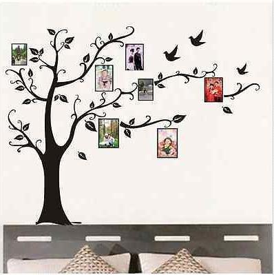 "23.6"" X 35.4"" Hot Sale 3D Art Wall Sticker Diy Photo Picture Frame Tree Vine Branch Birds Diy Art Decor Mural Room For Bedroom"