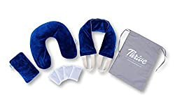 Thrive Hot and Cold Spa Therapy Set. Neck / Shoulder Pillow, Eye Pillow Pad, Body Wrap pack - Reusable Clay Micro Beads and Herbal Insert Packs provides Moist Heat or Cool Stress and Pain Relief