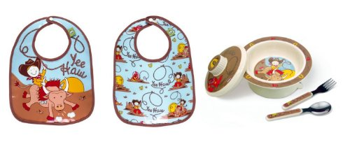 Sugarbooger Covered Bowl, Silverware, and 2 Bibs Set-Yee Haw Cowboy