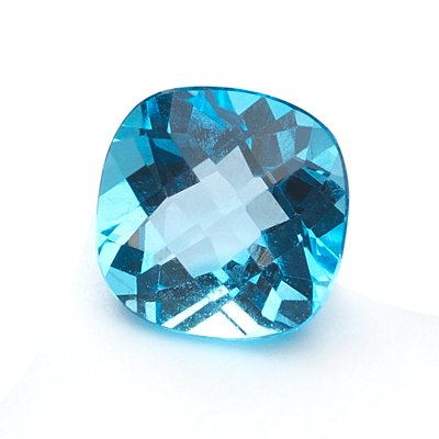 2.00-2.90 Cts of AA 8 mm Cushion Checker Board Loose Swiss Blue Topaz ( 1 pc ) Gemstone