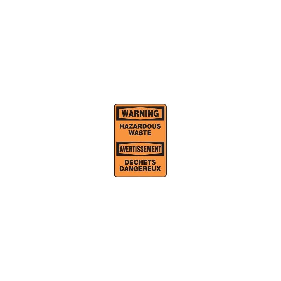 WARNING HAZARDOUS WASTE Sign   14 x 10 Adhesive Dura Vinyl