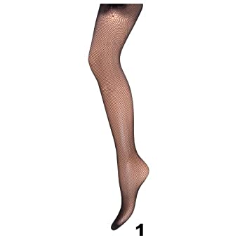 Ladies/Womens Black Fishnet Fashion Tights (1 Pair) (One Size) (Design 1)