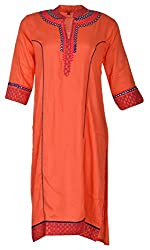Tarang Mart Women's Cotton Straight Kurta (TM-K105, Orange, L)