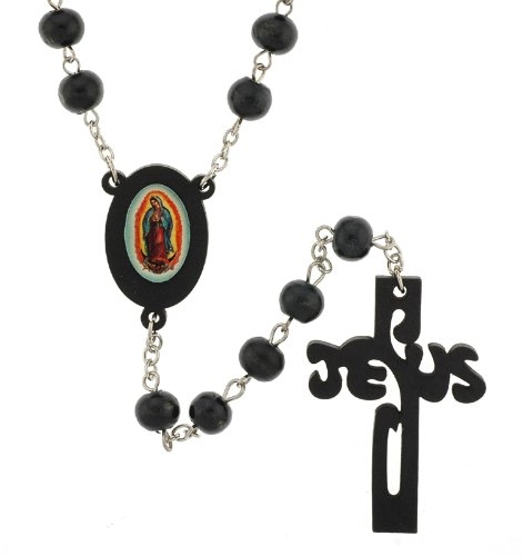 Word Jesus Crucifix Virgen de Guadalupe Rosary Black 10mm Wood Beads