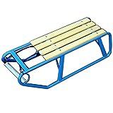 Extrem stabiler und leichter Schlitten aus Metall mit Holzsitz in