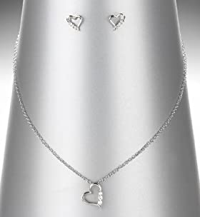 Platinum Plated Diamanté Heart Pendant Necklace
