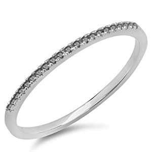 0.08 Carat (ctw) 10k White Gold Round Black Diamond Ladies Dainty Anniversary Wedding Band Stackable Ring (Size 7)