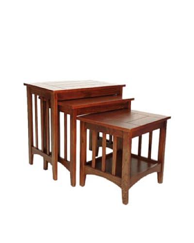 Charleston Hugo Nest Table, Oak Finish