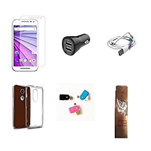 High Quality Combo of Moto G3 Temper Glass + Car Charger 2 USB + USB Data Cable + Transparent Back Cover + OTG and USB Dual Card Reader